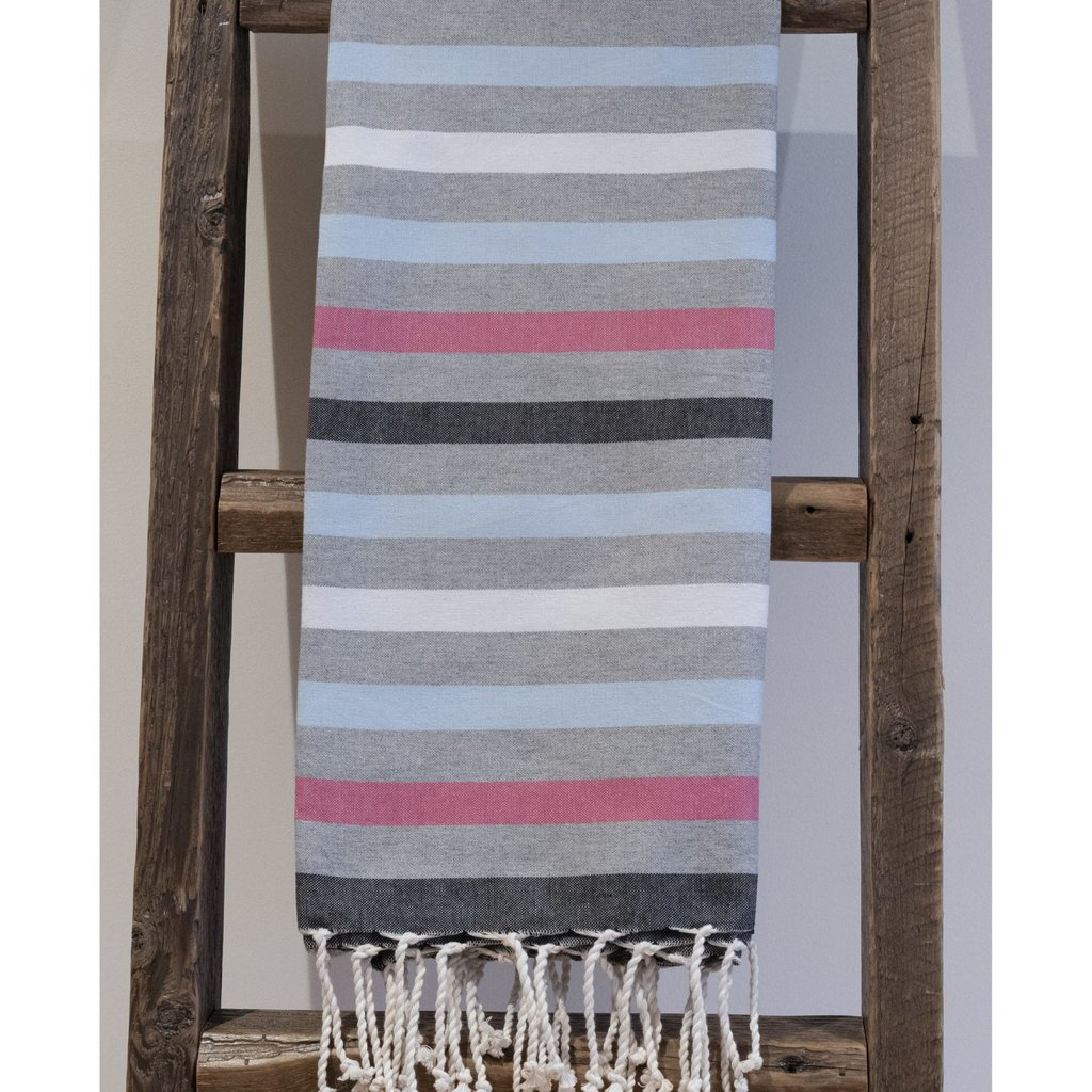 Alliadesign Fouta Nouvelle Zélande gris et rose alliadesign