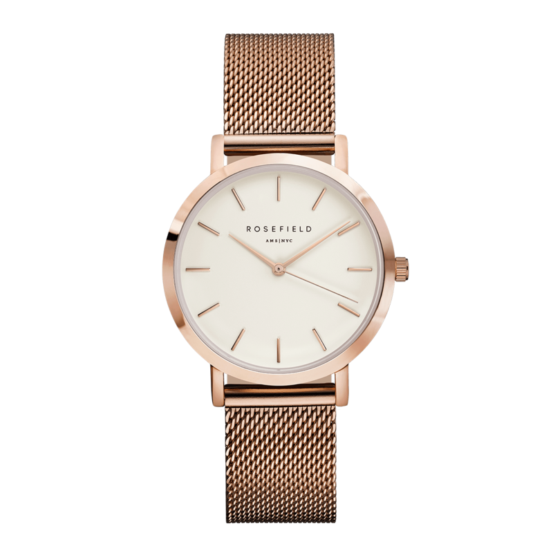 Rosefield Montre Rosefield  M42 The Tribeca Blanc Or Rose 33mm
