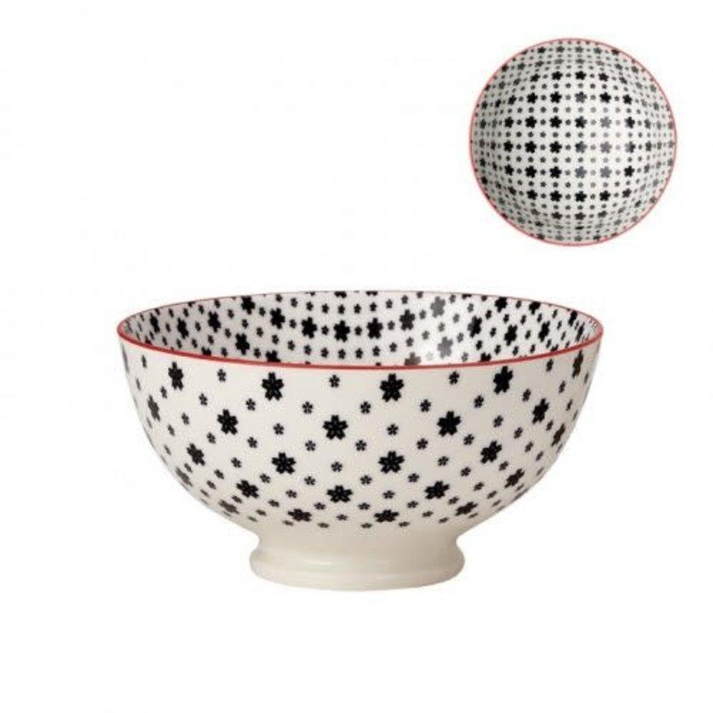 Torre & Tagus Bol de porcelaine kiri white with black daisies 6''