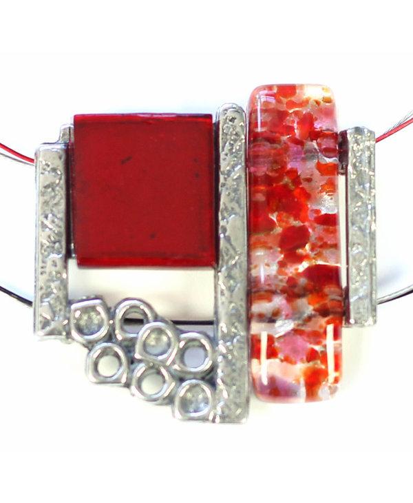 Collier Cré-Art Verre Fusion Rouge
