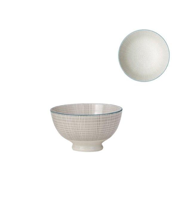 Bol de porcelaine Kiri 4.5 grey with blue trim