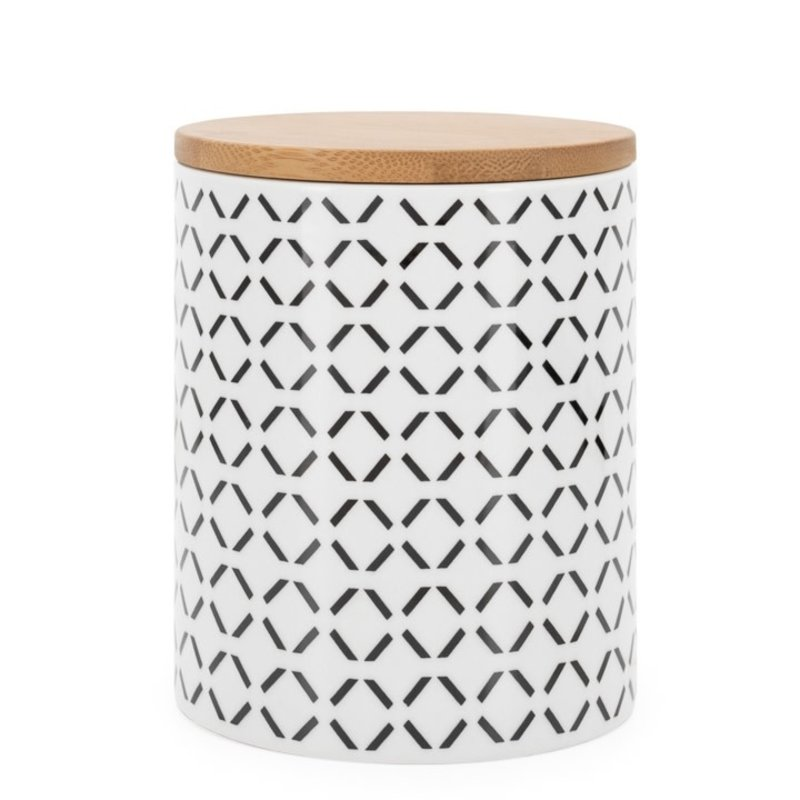 Torre & Tagus Pot de comptoir Kiri Porcelain 4.5d x 5.5h Canister - Black Crosshatch