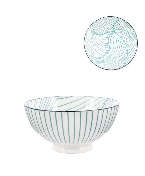Bol Torre & Tagus Kiri en Porcelaine 6 pouces- Teal Linear Leaf
