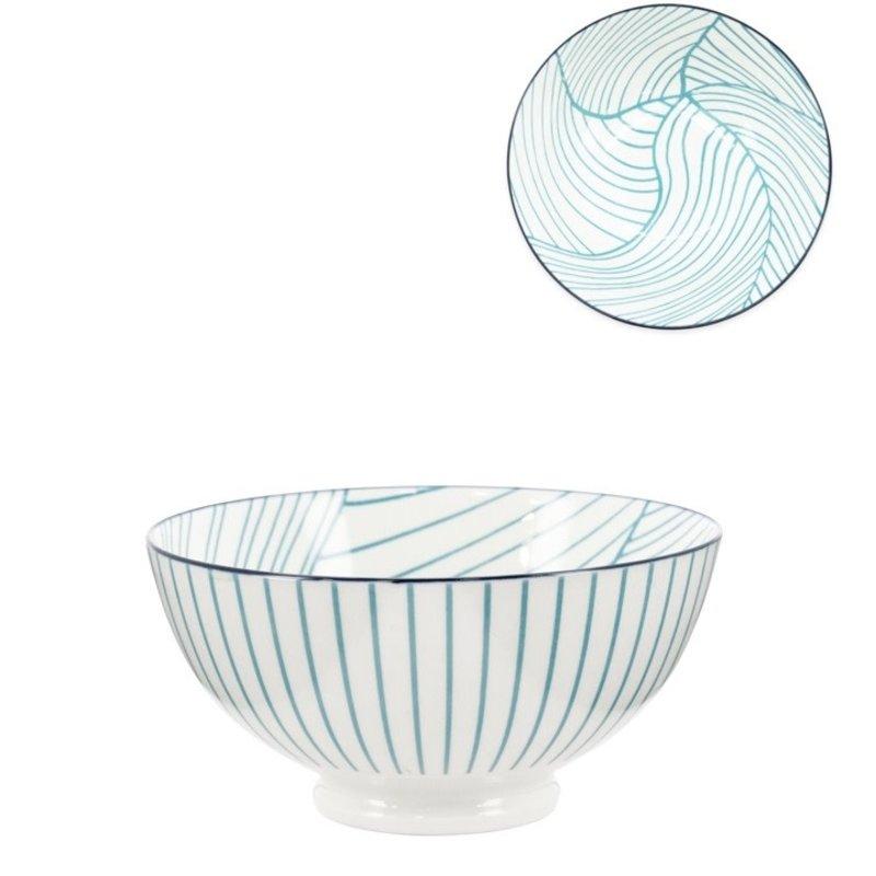 Torre & Tagus Bol Torre & Tagus Kiri en Porcelaine 6 pouces- Teal Linear Leaf