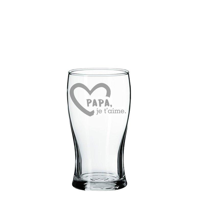 Verre de bière gravé Papa Je t'aime