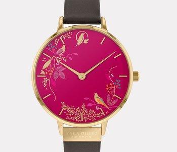 Montre Sara Miller pink birds leather SA2008