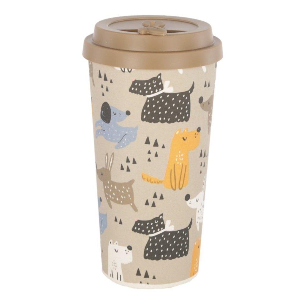NOMAAD ECO - Tasse Fibre Bambou Maïs avec Couvercle & Manchon en Silicone - Chiens - 473ml