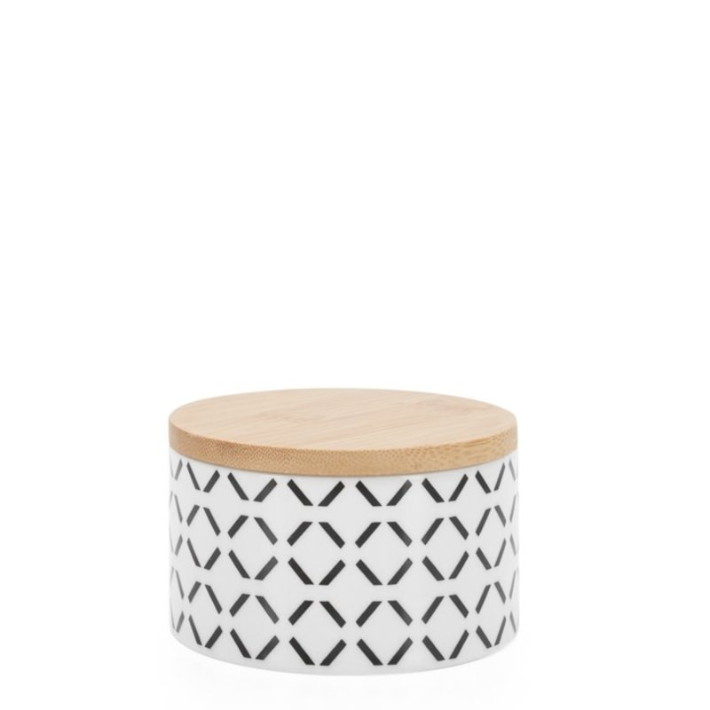 Torre & Tagus Pot de comptoir Kiri Porcelain 4d x 2h Canister Black Crosshatch