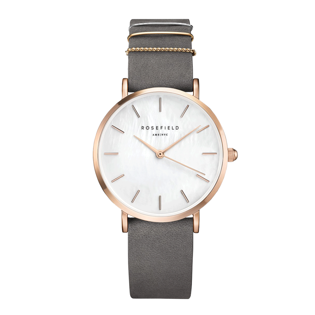 Rosefield Montre Rosefiled The West Village Gris Menthe - Or rose -33mm