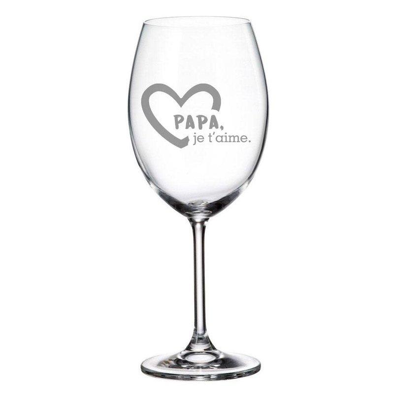 """Verre à vin gravé """"Papa, je t'aime"""""""