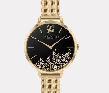 Montre Sara Miller leaf black gold mesh sa4020