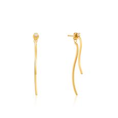 Ania Haie Boucles d'oreilles Ania Haie Gold Curve Drop Bar Ear Jackets