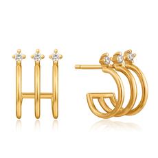 Ania Haie Boucles d'oreilles Ania Haie Triple Gold Mini Hoop Stud