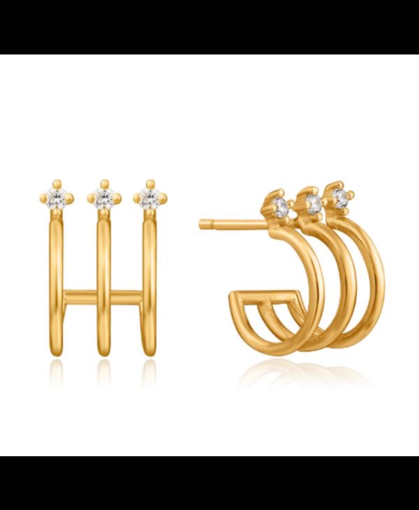 Boucles d'oreilles Ania Haie Triple Gold Mini Hoop Stud