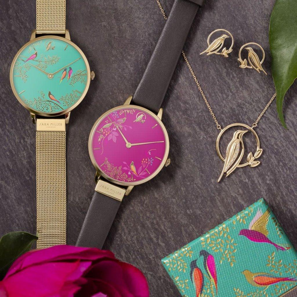 Sara Miller Montre Sara Miller pink birds leather SA2008