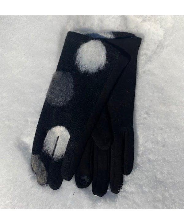 Gant noir pois blanc gris