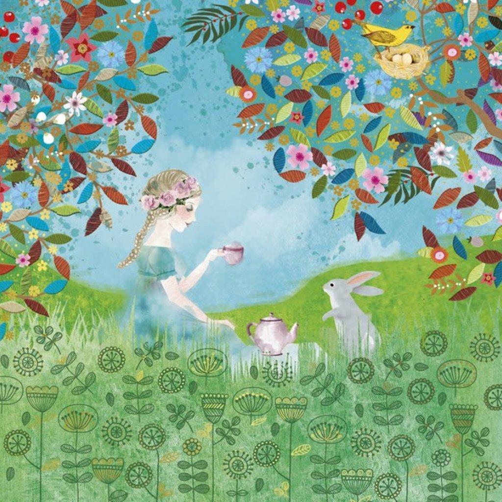 Carte de souhait  jeune  fille et lapin