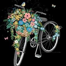 Carte de souhait Bicyclette et fleurs