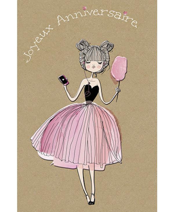 Carte de souhait Joyeux Anniversaire Ballerine