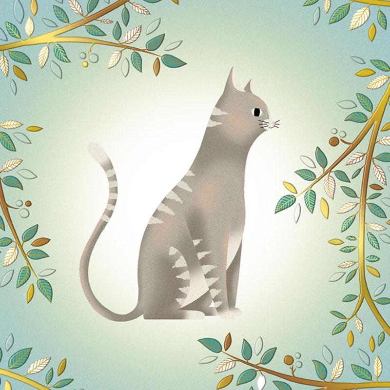 Carte de souhait chat branches dorés