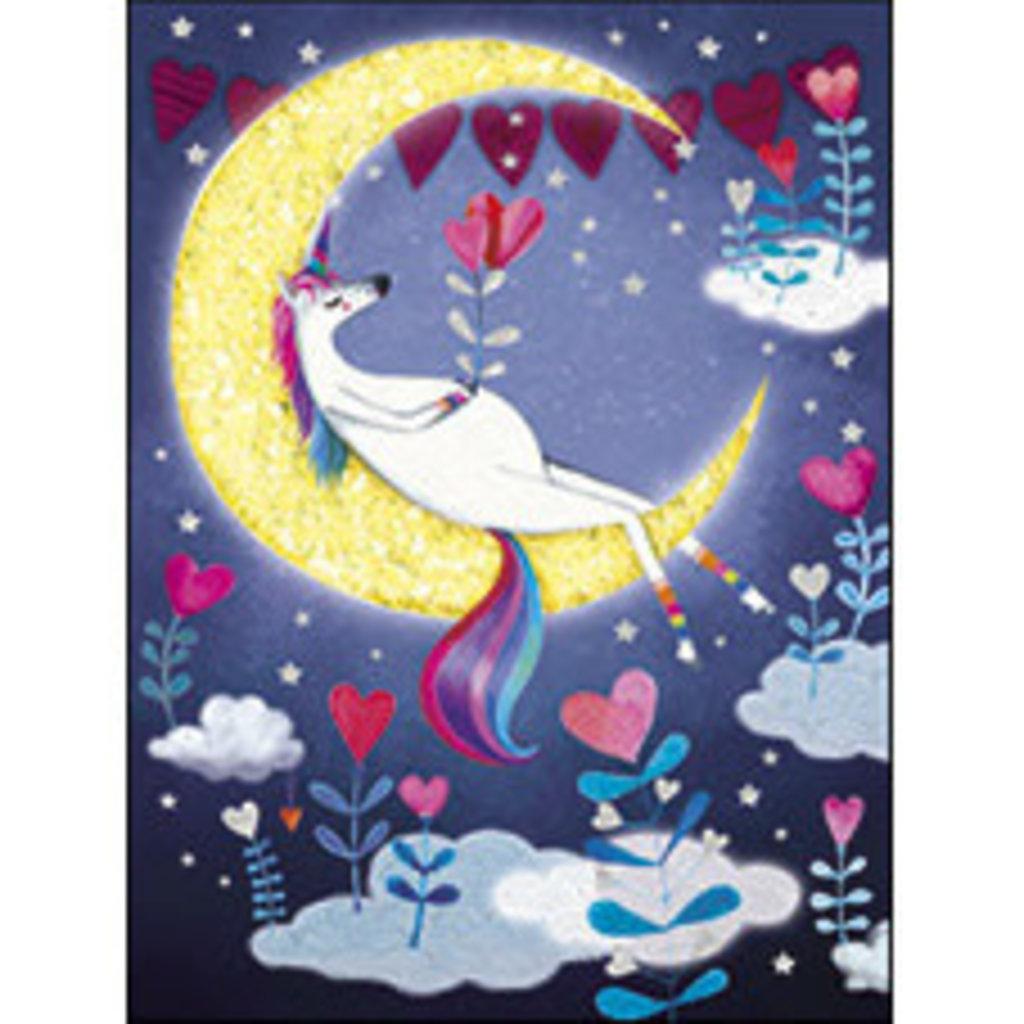 Carte de souhait Licorne lune