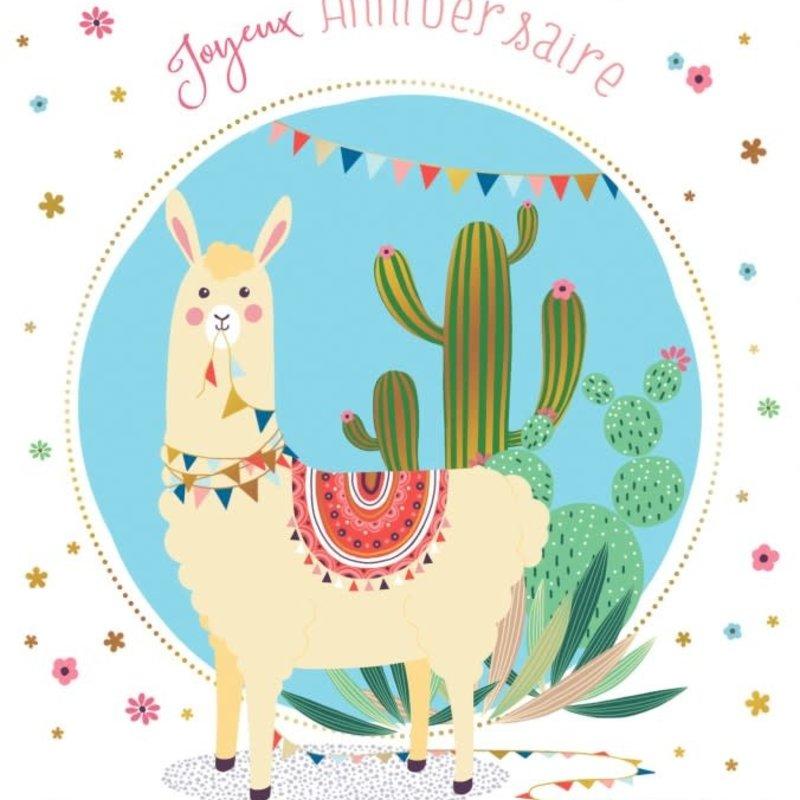 Carte de souhait  Joyeux anniversaire lama
