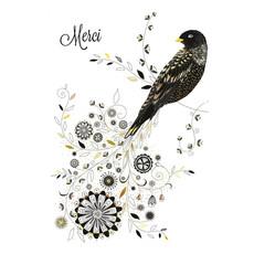 Carte de souhait Merci oiseau
