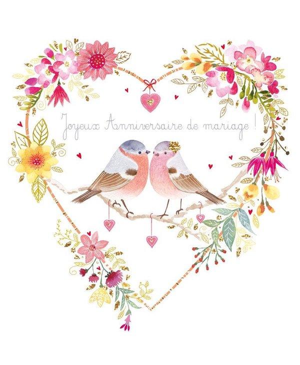 Carte de souhait Couple oiseaux coeurs