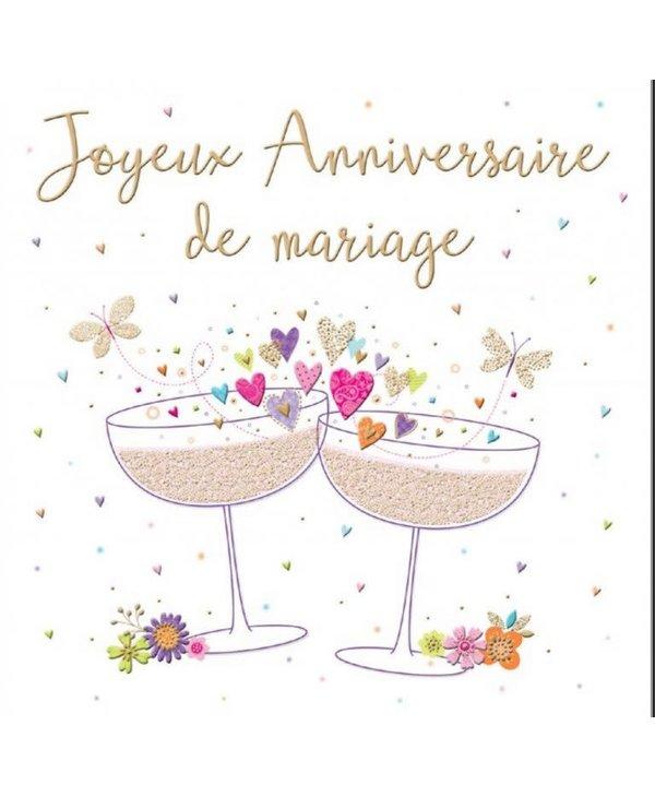 Carte de souhait Joyeux anniversaire de mariage coupes