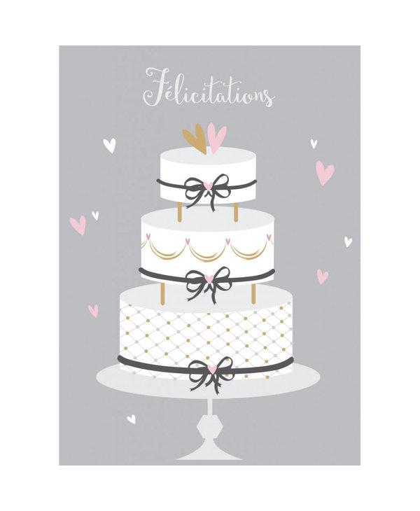 Carte de souhait Félicitation gâteau argent