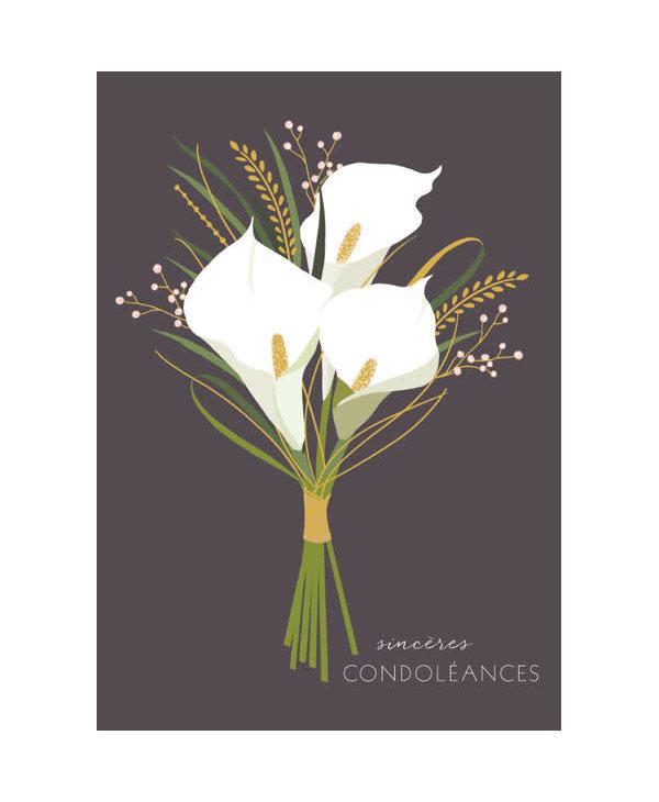 Carte de souhait lys condoléances