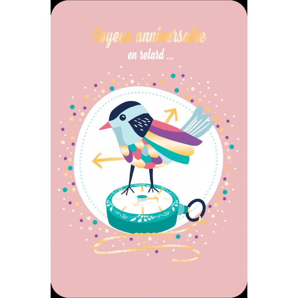 Carte de souhait joyeux anniversaires en retard