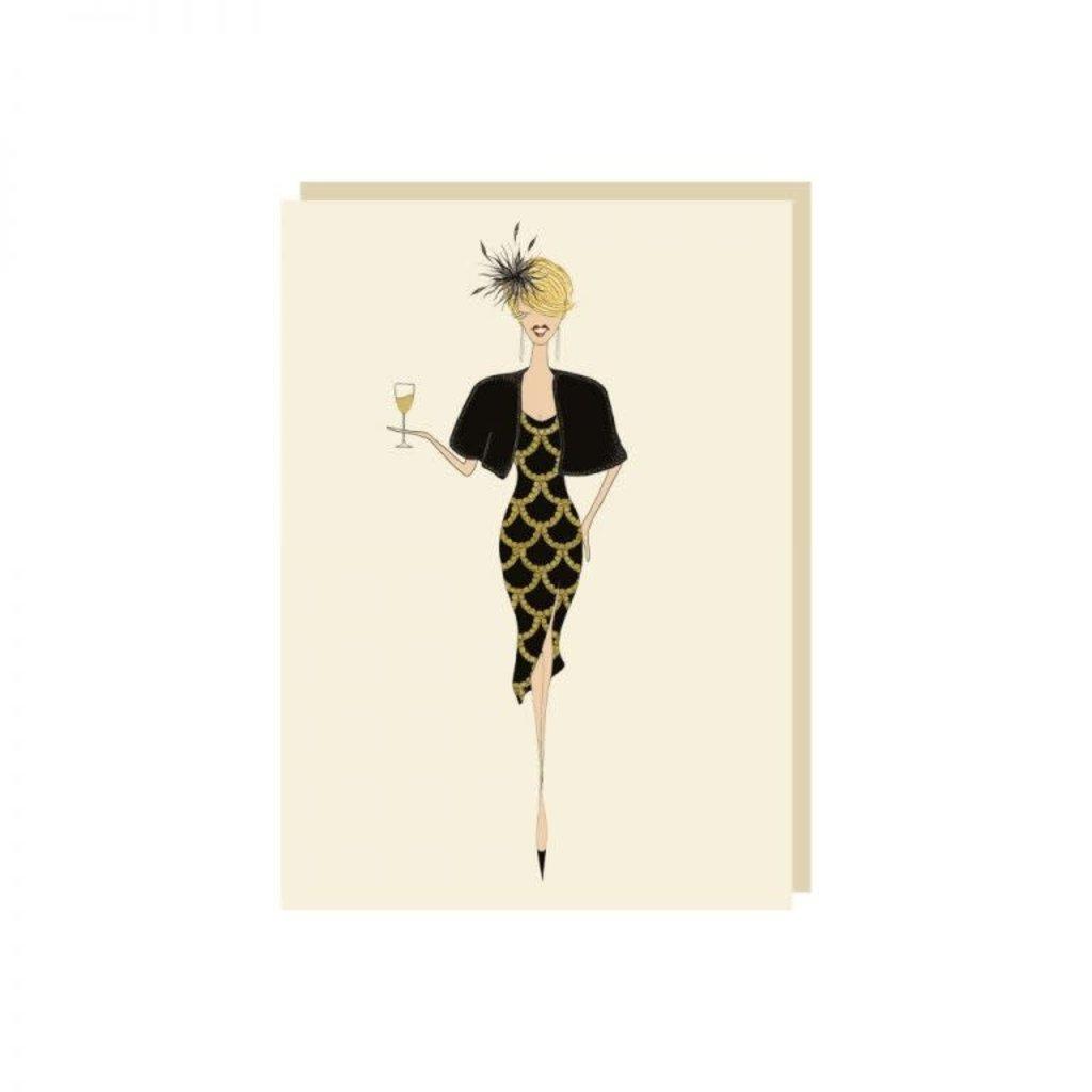 Carte de souhait Dame robe noire