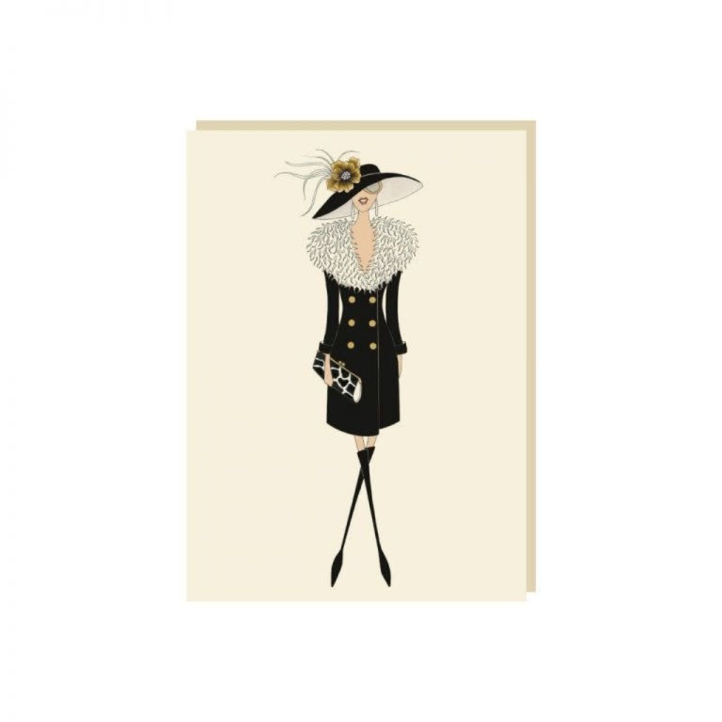 Carte de souhait Dame robe noire et chapeau
