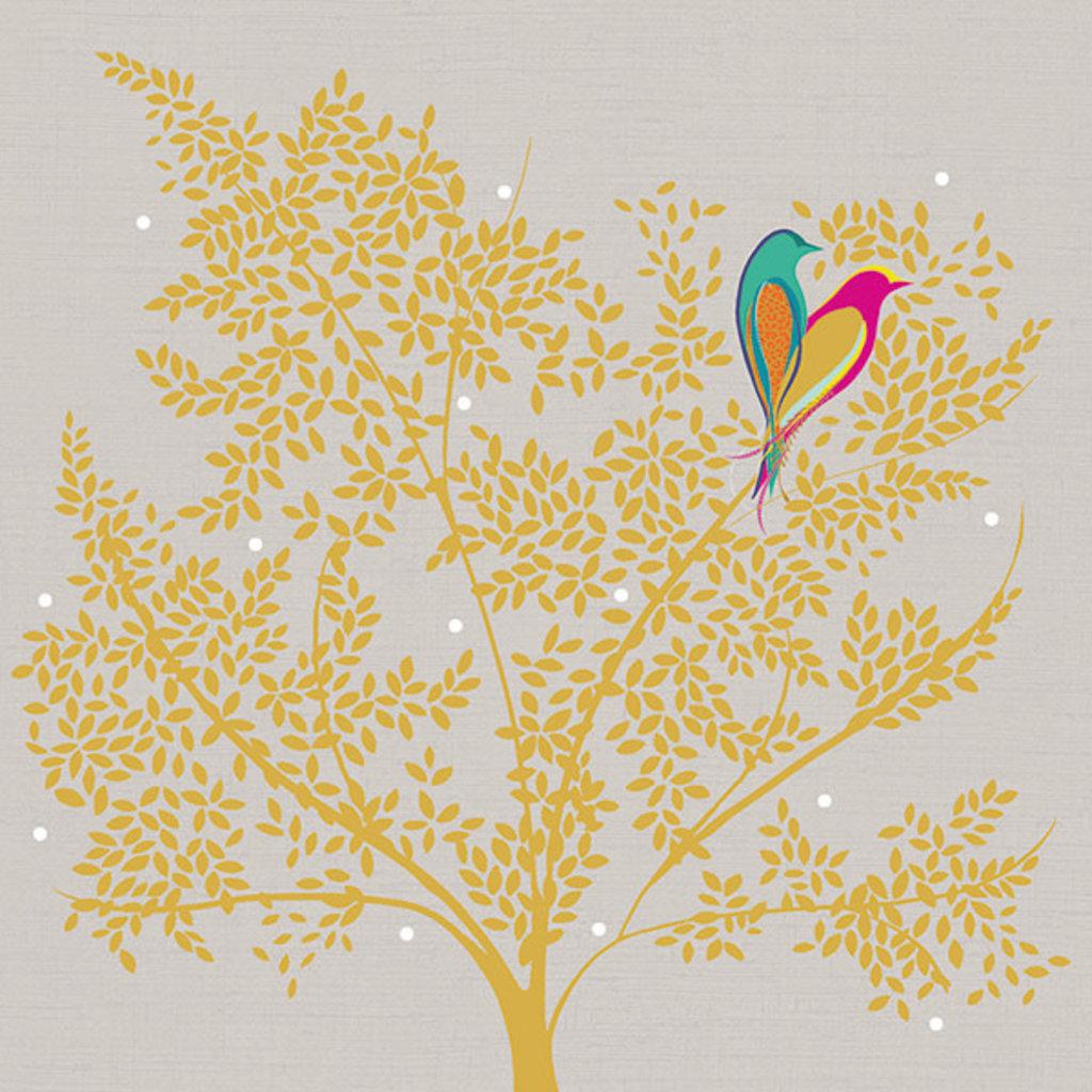 Carte de souhait tourtereaux arbre doré