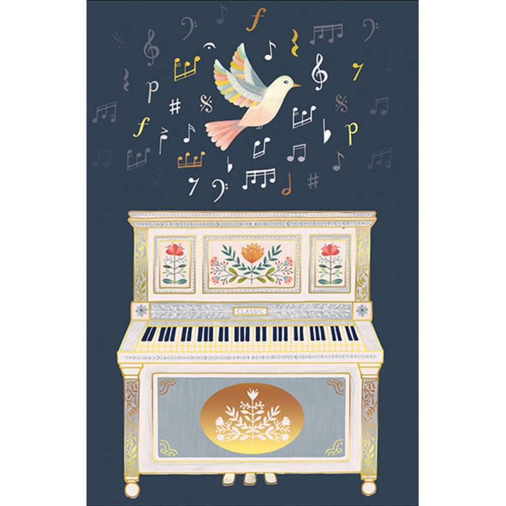 Carte de souhait Oiseaux et piano