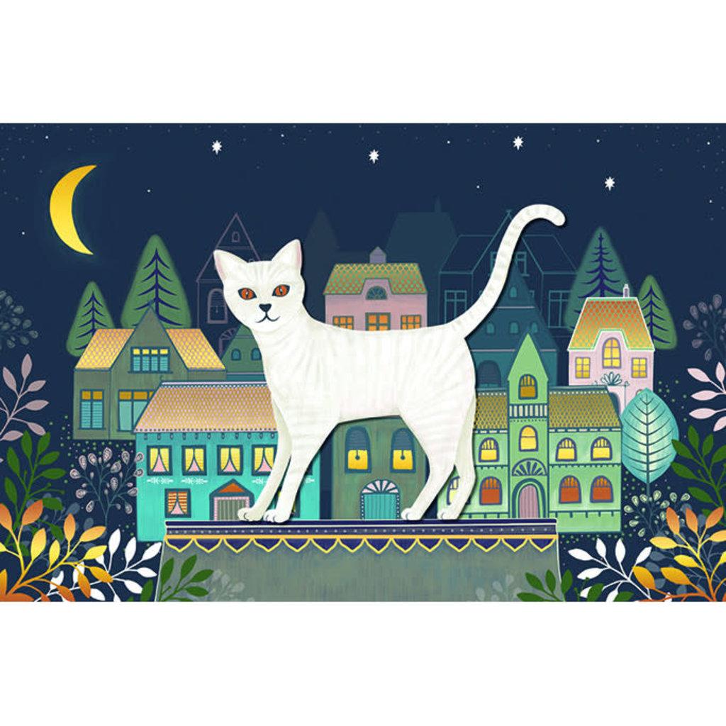 Carte de souhait chat blanc et maisons