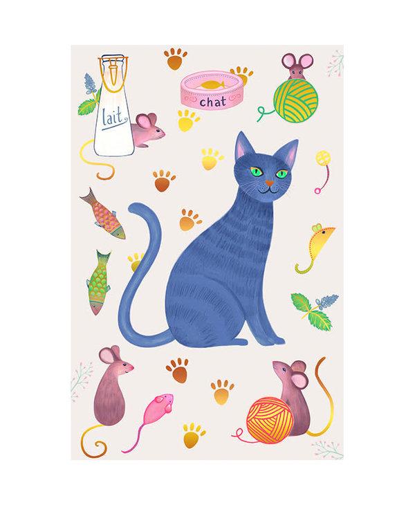 Carte de souhait chat et souris