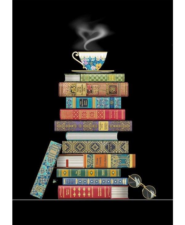 Carte de souhait book pile