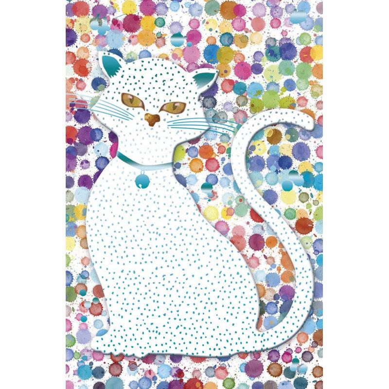Carte de souhait chat multicolore
