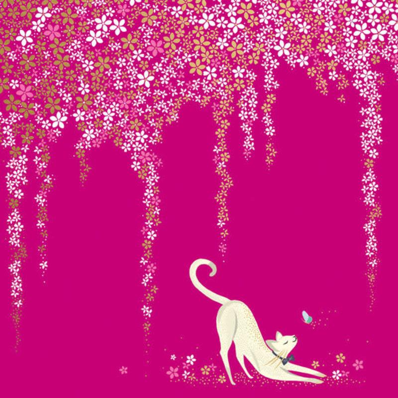 Carte de souhait chat rose