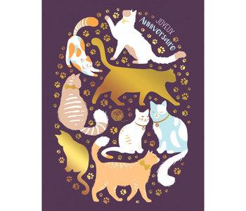 Carte de souhait chat mauve