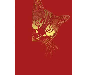 Carte de souhait chat rouge et or