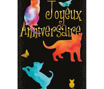 Carte de souhait joyeux anniversaire chat noir