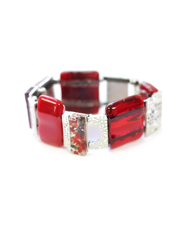 Bracelet complex Mosaik rouge