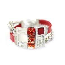 Cré-Art Bracelet cuir et stainless rouge vif