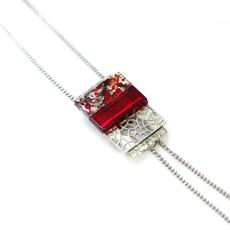 Cré-Art Collier Sautoir SImple Mozaik rouge