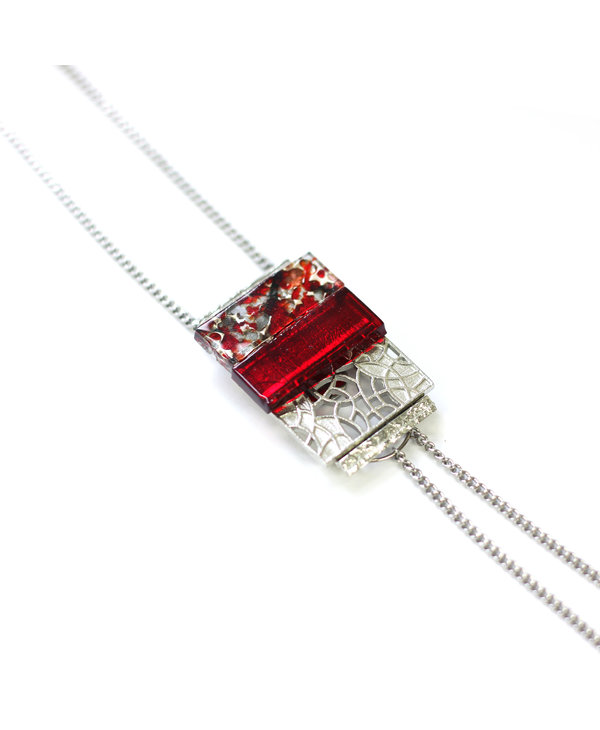 Collier Sautoir SImple Mozaik rouge