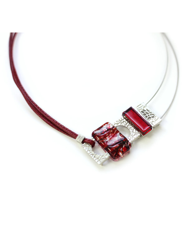 Collier complexe mosaik rouge