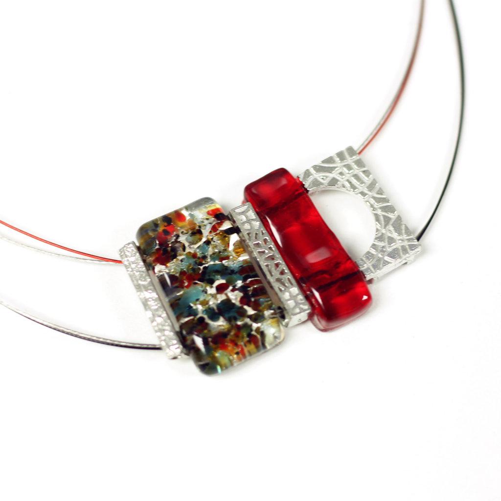 Cré-Art Collier pendantif mosaik rouge